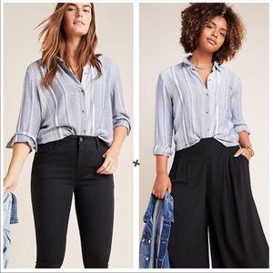 Anthropologie Maeve blue chatham button up shirt S